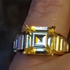 925 gold vermeil cz 6 carat citrine ring